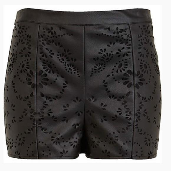 dbe25ca1bcdd3a River Island Shorts | Black Leather Look Laser Cut 8 | Poshmark